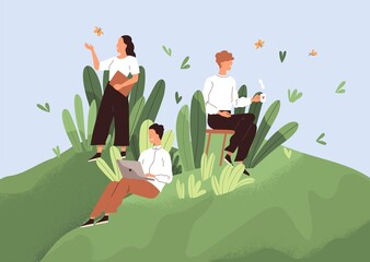 Fototapeta Positive working environment with happy employees concept. Comfortable workplace with good conditions, conducive psychological climate and healthy relations between workers. Flat vector illustration obraz