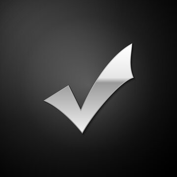 Silver Check mark icon isolated on black background. Tick symbol. Long shadow style. Vector.
