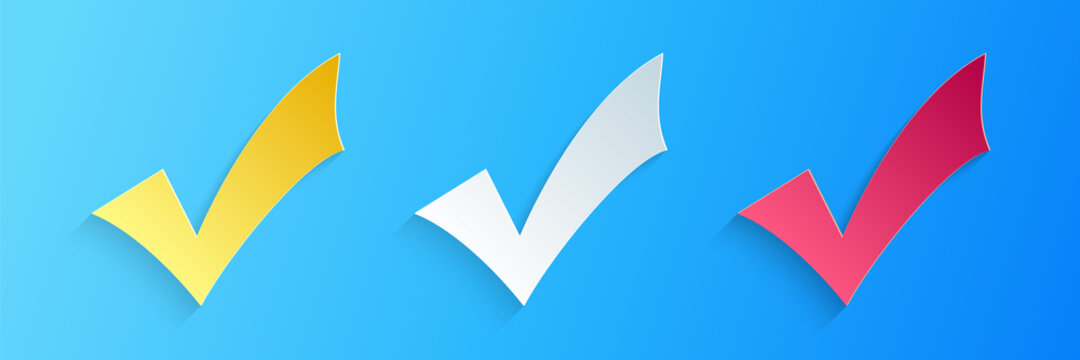 Paper cut Check mark icon isolated on blue background. Tick symbol. Paper art style. Vector.