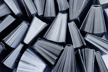 Book background. Old books in the library. Bookshelf shop. Knowledge, publications, literature....