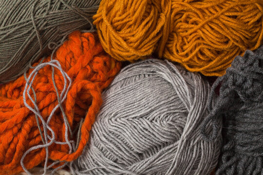 Colorful skeins of wool, close-up.