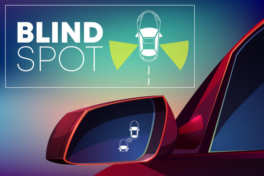 Vehicle blind spot monitor assist cartoon vector
