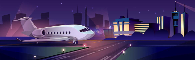 Passenger aircraft on airport runaway vector