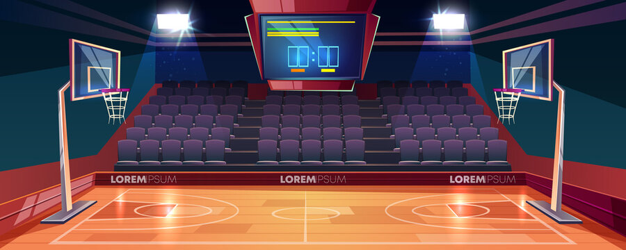 Empty basketball court cartoon vector illustration