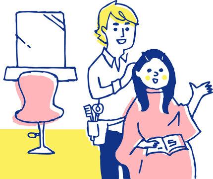 ヘアサロン 女性と美容師