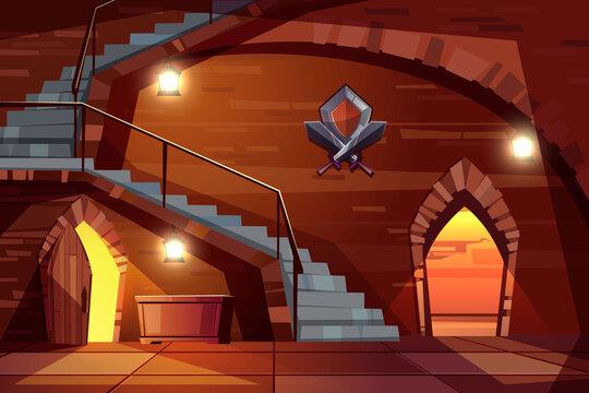 Deep dungeon in medieval castle cartoon vector
