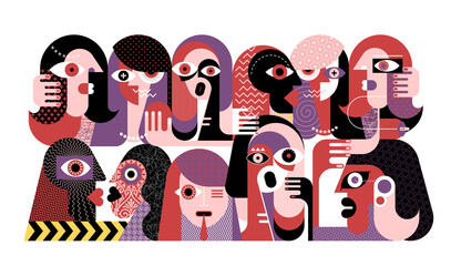 Large group of strange people modern abstract art vector illustration.