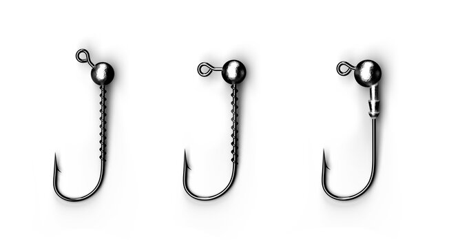 Hooks, bait and heads for sporty and amateur fishing. Used to catch large and predatory fish. White isolated background