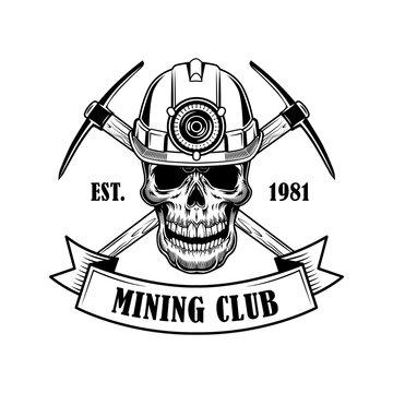 Coal miners skull vector illustration