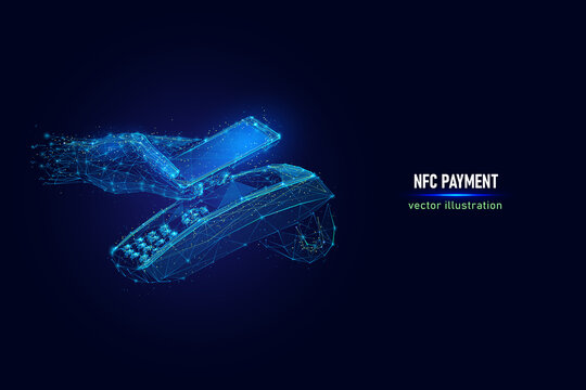 Customer hand paying using NFC technology with phone, contactless payment digital wireframe made of connected dots. NFC near field communication low poly vector illustration on blue background.