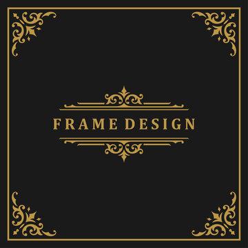 Vintage frame border ornament and vignettes swirls decoration with divider template vector illustration