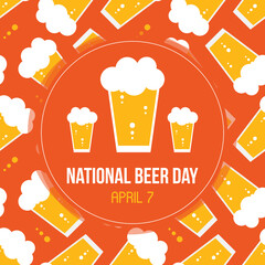 Obraz National Beer Day vector card, illustration with glass of lager and beer pattern background.  - fototapety do salonu