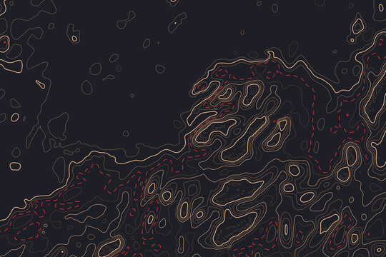 Topo map decorative background with contour lines and linear grid. Topographic creative graphics for any kind of web and art design. Elevation level geography of hiking drawing and minimalist style.