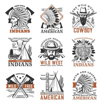 Wild west cowboy, american indians icons. Indian warrior in war bonnet, cowboy bandit in mask and totem pole, tipi, smoking pipe and bull scull, crossed tomahawks, rifle and pistol engraved vector