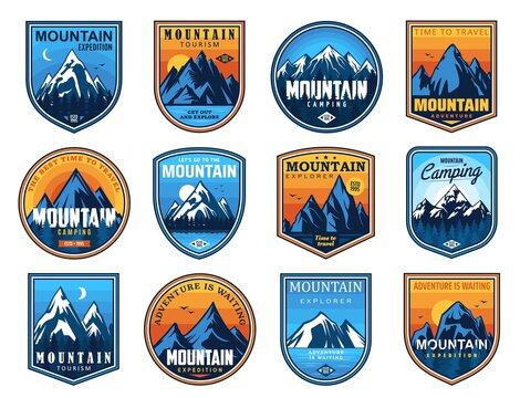 Mountain tourism and rock climbing vector icons set. Rocks top and snowy peaks travel emblems, steep rocky hills and crests nature landscape. Outdoor explore, extreme sport and adventure expedition