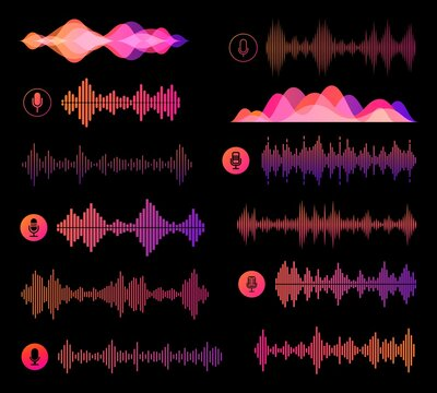 Voice recognition soundwaves vector design of ai and smart technologies. Microphone buttons, personal assistant speech recognition sound waves and pink neon equalizer scales of sound volume