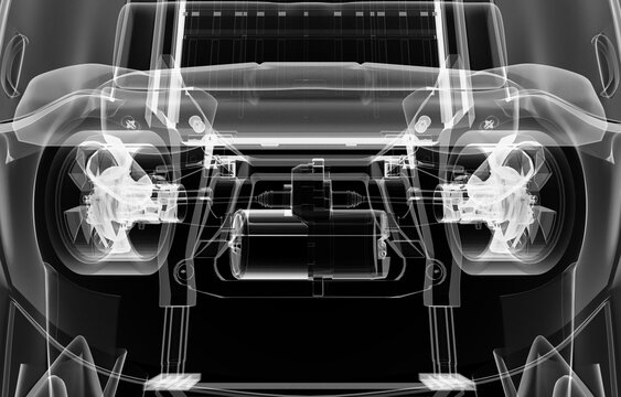X-ray of electric car with chassis. 3D illustration
