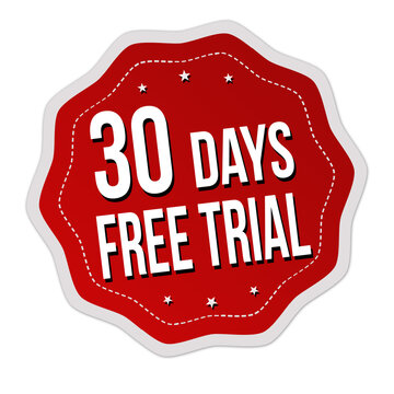 30 days free trial label or sticker