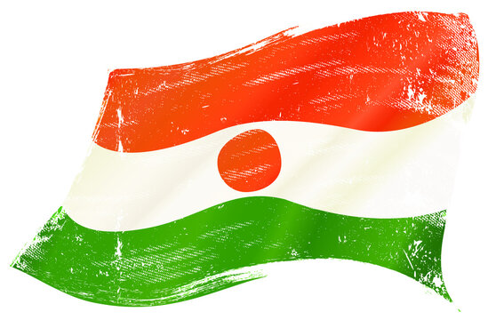 Nigerien grunge waving flag. A grunge flag of Niger in the wind for you.