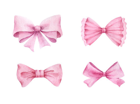 Pink bows.Watercolor illustration..Hand painted pink bows isolated on white background.