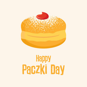 Happy Paczki Day vector. Traditional polish donut with jam and icing sugar vector. Round jelly doughnut with powdered sugar icon vector. Important day
