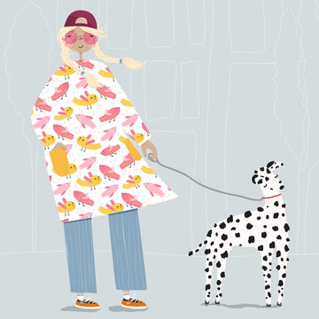 Flat vector illustration of a blonde woman walking with a cute dalmatian dog outdoors on the city street. Poster of a young lady with her adorable puppy. Pretty female walking the pet.