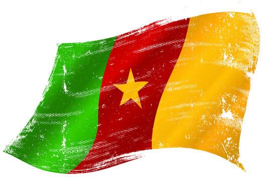 Cameroonian  grunge waving flag. A grunge flag of Cameroon in the wind for you.