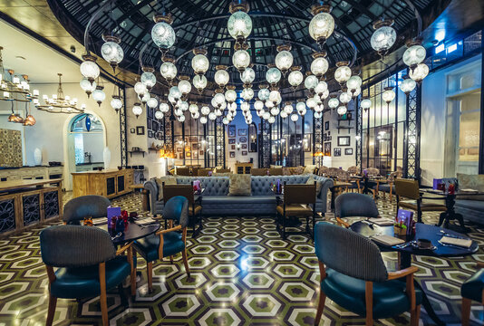 Amman, Jordan - December 7, 2018: Interior of one of the restaurants in Fairmont hotel in Amman city