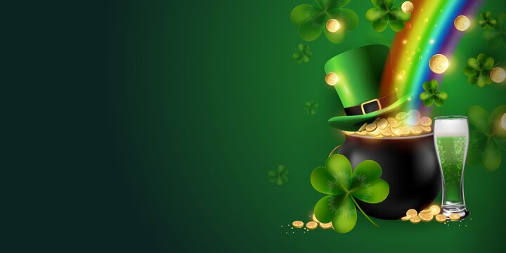 Horizontal St. Patrick's Day background with beer, leprechaun hat, rainbow, coins, trefoil clover, pot and riches. Vector illustration.Space for text