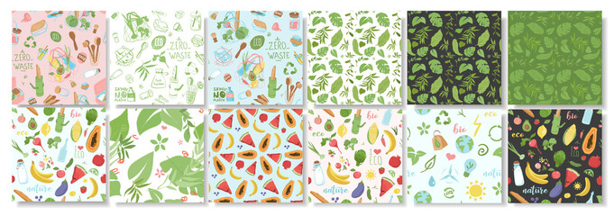 Collection of patterns about ecology, plants, eco friendly packaging, fruits. Flat vector illustration - fototapety na wymiar