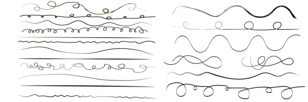 Set of artistic pen brushes. Hand drawn grunge strokes.