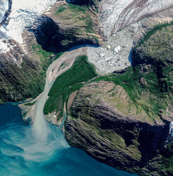 Satellite view of a glacier, Cabo de Hornos, Chile. Ice melting. Climate change. Wild nature. Element of this image is furnished by Nasa