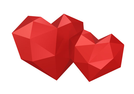 two hearts, red, valentine's day, polygonal, isolated on white background, 3d render