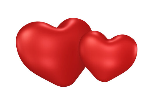 two hearts, red, valentine's day, isolated on white background, 3d render