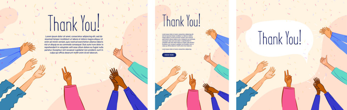 Thank you poster. Hands clapping on pastel background. Motivational gratitude for people. Can be adapted to print posters, in apps, and social media creatives.