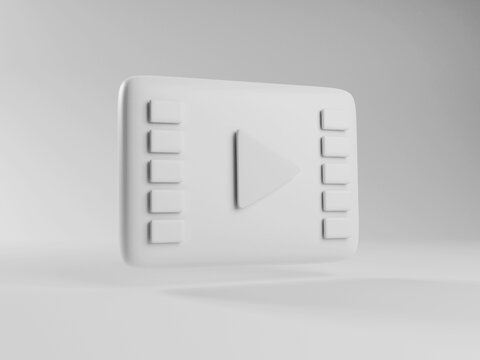 3d render of cinema play icon. online streaming on demand video service. white icon of live video