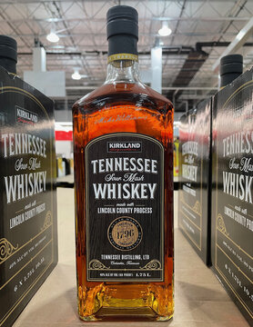 FRESNO, UNITED STATES - Feb 05, 2021: Photo of a beautiful bottle of Tennessee Whiskey on store shelf