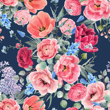 Beautiful vector seamless floral pattern with watercolor gentle red summer flowers. Stock illustration.