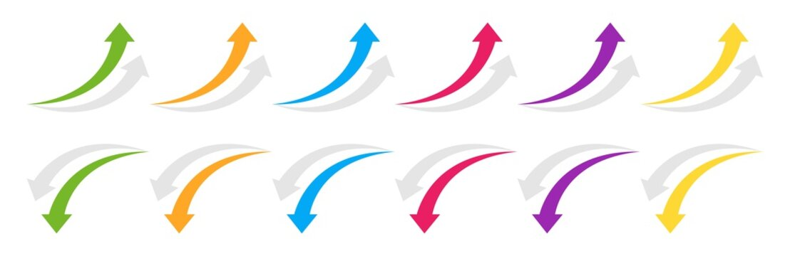 Curved arrow up and down. Colored arrow with shadow. Collection curved arrows in flat style. Vector graphic elements.