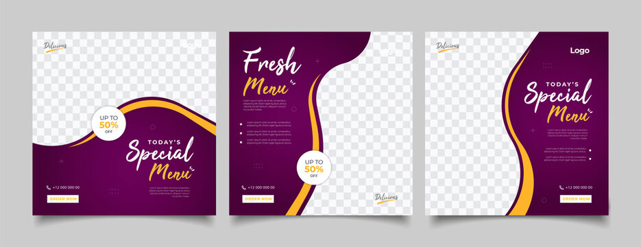 social media instagram post template. Suitable for Social Media Post Restaurant and culinary Promotion.