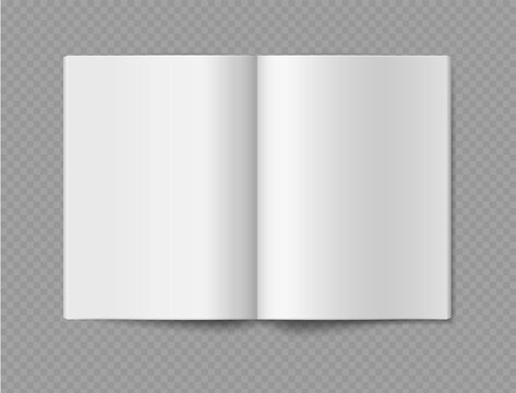 Empty book mockup. Opened 3d realistic booklet or brochure soft cover, journal or magazine template, blank white paper sheets, vector single object isolated on transparent background