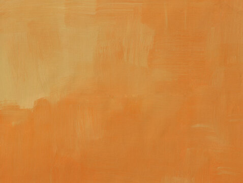 Light orange abstract art background. Acrylic paint with soft brush strokes in caramel brown color. Textured surface template for banner, poster. Horizontal illustration