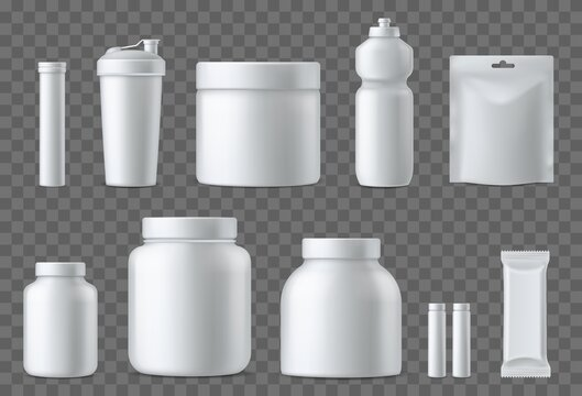 Sport nutrition containers. Realistic blank white plastic packaging mockups collection. Superfood, whey protein powder, vitamins and energy drinks. Sports supplements. Vector 3d set