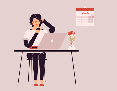 March 8 International Women's Day.Cute brunette woman preening work on laptop.Vase with tulips on desk.Smart lady trainer,coach or accountant conduct webinar or workshop.Raster illustration
