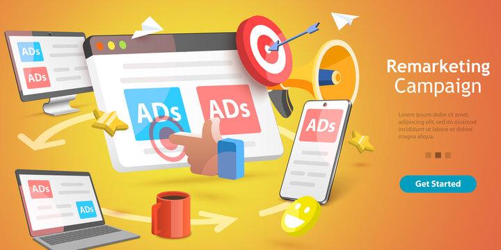 3D Isometric Flat Vector Conceptual Illustration of Marketing Retargeting, Behavioural Remarketing, Digital Promotion Campaign.