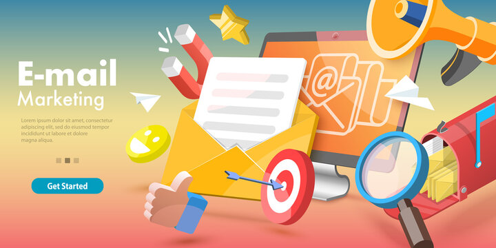 3D Vector Conceptual Illustration of Email Marketing and Advertising Campaign, Newsletter and Subscription, Digital Promotion, Sending a AD Message.