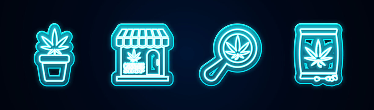 Set line Marijuana plant in pot, and cannabis store, Magnifying glass marijuana and seeds. Glowing neon icon. Vector.