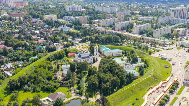 Dmitrov, Russia. Cathedral of the Assumption of the Blessed Virgin Mary - located in the Dmitrov Kremlin. An architectural monument of the early 16th century, Aerial View
