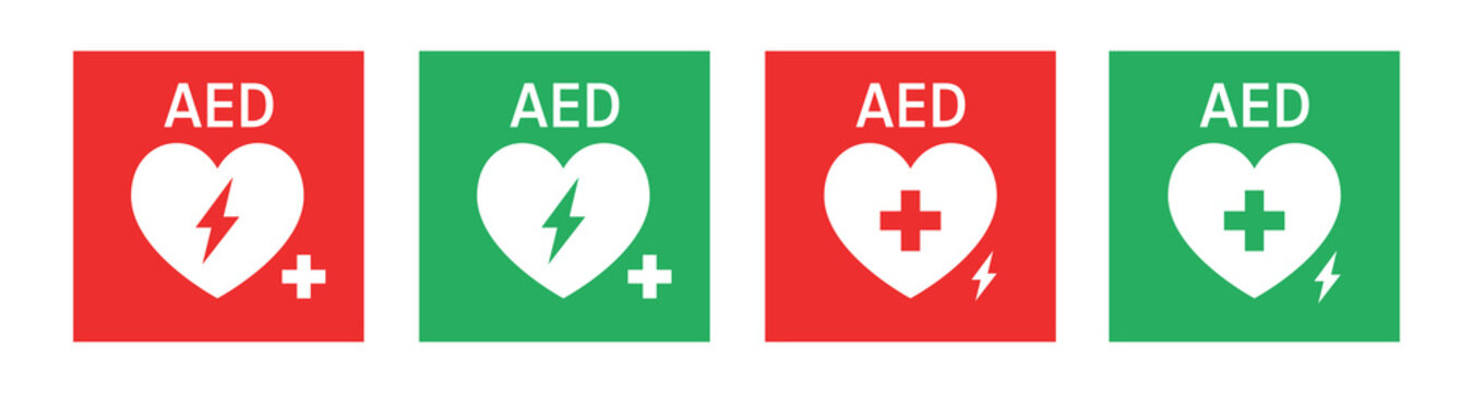 AED vector icon. Hearts electricity. AID CPR sign automated external defibrillator. Vector illustration.