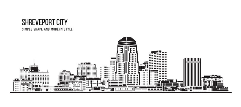 Cityscape Building Abstract Simple shape and modern style art Vector design -  Shreveport city